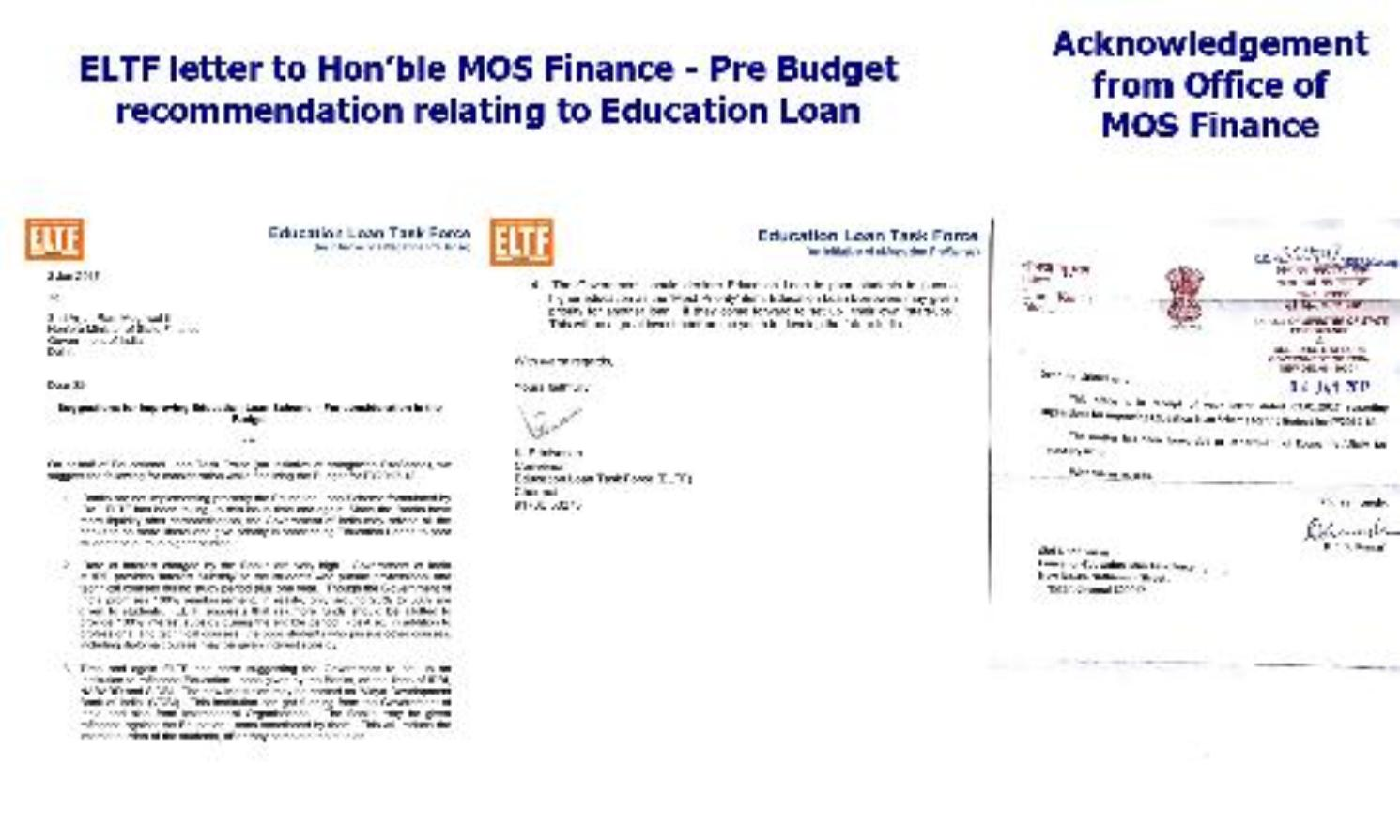 Pre-Budget recommendation by ELTF to Ministry of Finance on Education Loan